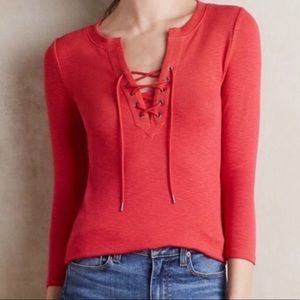 Anthropologie Deletta Red Lace Up Ribbed Henley